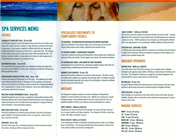 JADE Beach SPA Menu